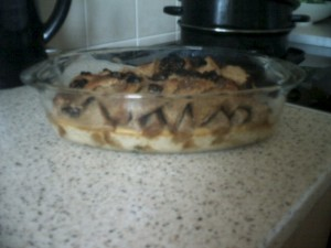 bread pudding after oven.... see  the 'custard' is set